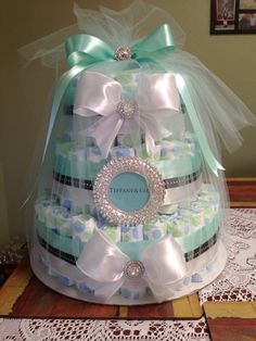 Tiffany and Co. Inspired diaper cake, tiffany blue baby shower
