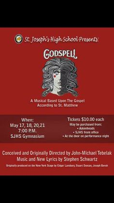 Hey Jags!!!!! Come on out an see our school's musical Godspell this week!!! Tickets are $10 and it starts at 7:00pm!
