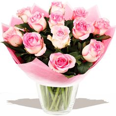 A Dozen Classic Pink Roses  Description   Information & Delivery  Our classic dozen pink Roses, selected and arranged to order by our florist experts. A beautiful fresh bouquet that's sure to delight. #wedding #flowers