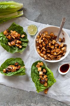 8 Ingredient Tofu Mushroom Lettuce Wraps