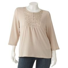 Croft and Barrow Embroidered Thermal Top - Women's Plus
