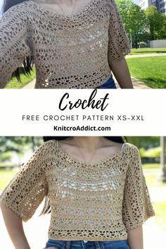 Débardeurs Au Crochet, Crochet Pattern Free, Pull Crochet, Crochet Cardigan Pattern, Crochet Shirt, Crochet Woman, Crochet Patterns, Kimono Pattern Free, Ravelry Crochet