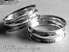 Vintage Silver, Antique Silver, Cut Glass, Glass Art, Birmingham, Napkin Rings, Rings For Men, Silver Rings, Wedding Rings