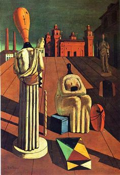 """One of the most famous paintings both by De Chirico and of all metaphysical art, The Disquieting Muses was painted in the city of Ferrara, Italy, during World War I. De Chirico considered Ferrara a perfect """"metaphysical city,"""" and used much of the cityscape of Ferrara in the painting. The large castle in the background is the Castello Estense, a medieval fortress in the center of the city. The three """"muses,"""" in the foreground of the painting, are """"disquieting"""" due to the fact that they were…"""