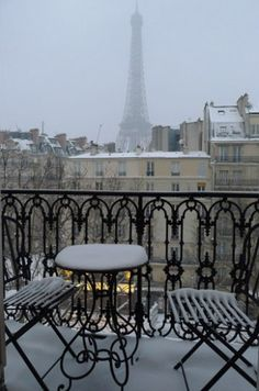 Paris balcony in winter with view of Eiffel Tower Torre Eiffel Paris, Paris Eiffel Tower, Beautiful Paris, I Love Paris, Romantic Paris, Paris Snow, Paris Winter, Paris Paris, The Places Youll Go