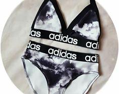 Reworked Black & white adidas bikini set