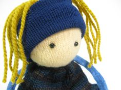 Rag doll Child simple toy OOAK doll Felted wool Upcycled sweaters Soft toy Blue dolly Mustard hair Scrap doll Repurposed knit. $10.00, via Etsy.
