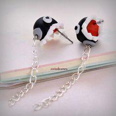 Exaggerate Cartoon Handmade 3D Black Shark Biting Ears Polymer Clay Stud Earrings!