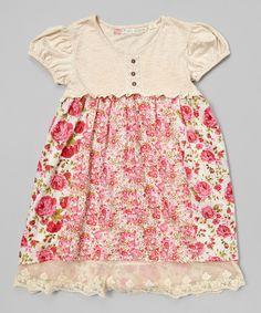 Pink & Cream Babydoll Dress - Toddler & Girls by Free Planet