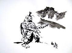 Megalon in Sumi-e - Kaiju - Godzilla - Original 11 x 14 Sumi-e Painting
