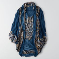 AE Floral Woven Kimono ($20) ❤ liked on Polyvore featuring intimates, robes, blue, fringe kimono, kimono robe, american eagle outfitters, blue robe and fringe robe