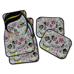 Sugar Skull Car Mats, Beautiful Artwork by Concetta of Enchanted Design Studio, Your choice of a Set of 4, 2 Front, or 2 Rear!