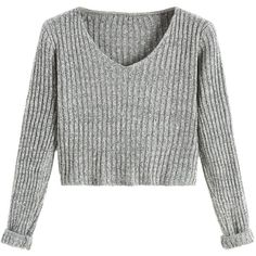 SheIn Women's V Neck Long Sleeve Crop Sweater ($18) ❤ liked on Polyvore featuring tops, sweaters, v neck sweater, long sleeve crop top, cropped sweater, white top and white sweater