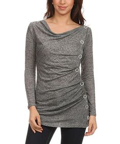 Another great find on #zulily! Charcoal Side-Button Top #zulilyfinds