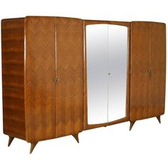 Wardrobe with Six Doors Mahogany Rosewood Veneer, Vintage Italy, 1950s... ❤ liked on Polyvore featuring home, furniture, storage & shelves, mahogany furniture and mahogany wood furniture