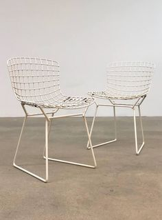 Harry Bertoia Pair Knoll Childrens Wire Chairs Mid Century