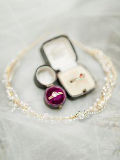 A Plum Velvet Vintage Ring Box and Pearl Headpiece | @rachelmay and @Amoreeventco  on @heyweddinglady | Peach and Fig - An Enchanted Garden Wedding Editorial - http://heyweddinglady.com/glitter-and-gray-an-enchanted-garden-wedding-editorial/