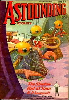 """Cover of Astounding Stories featuring H.P. Lovecraft's """"The Shadow Out of Time"""" (June 1936)"""
