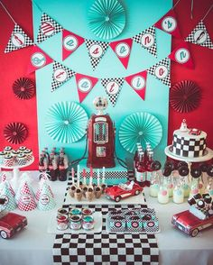 Hostess with the Mostess® - Vintage Gas Station, Fill-er up dessert table