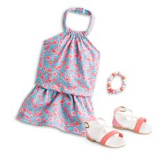 American Girl Doll Truly Me 2015 Flamingo Beach Dress Outfit Sandals Retired for sale online Ropa American Girl, American Girl Doll Room, American Girl Doll Games, American Girl Doll Pictures, American Girl Doll Samantha, American Girl Clothes, American Dolls, Barbie Doll Set, Doll Clothes Barbie