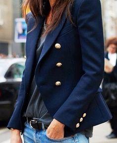 Spring / Summer - Fall / Winter - gray t-shirt + navy blazer + black belt + jeans