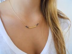 Modern Delicate Gold Necklace  Tube and Beads by annikabella, $32.00