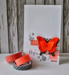Hello card, washi and stacked butterflies
