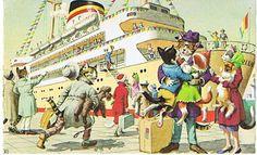 Mainzer - Alfred Mainzer - Mainzer Cats - Alfred Mainzer Cards - Cruising Cats