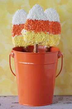 Candy Corn Pretzel Pops!...made from store-bought Rice Krispy Treats!
