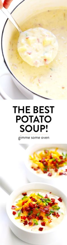 The BEST Potato Soup recipe! It's quick and easy to make, nice and creamy (with … The BEST Potato Soup recipe! It's quick and easy to make, nice and creamy (with zero heavy cream), with lots of bacon (if you'd like). New Recipes, Soup Recipes, Cooking Recipes, Favorite Recipes, Easy Recipes, Recipies, Recipes Dinner, Lunch Recipes, Best Potato Soup