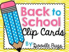 This is a set of 12 Clip Cards that are perfect for first grade back to school or for kindergarten to use later in the year.