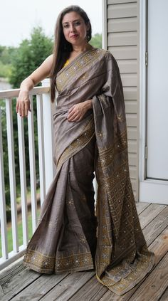 Pure Tussar Embroidery Saree with Gujrati Mirror Stitch Work in Grey and Yellow Saree Dress, Sari, Embroidery Saree, Tussar Silk Saree, Mulberry Silk, Photoshoot, Pure Products, Stitch, Mirror