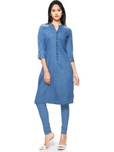 Blue ready made kurti. Work - Washed and fancy buttons.Please Note: This product can be made available only in the measurements given in the above mentioned drop down menu. Denim Kurti Designs, Tunic Designs, Kurta Designs, Kurti With Jeans, Plain Kurti, Indian Tunic Tops, Kurti Styles, Latest Kurti, Embroidered Tunic