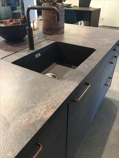 "Sigdal kitchen, dark cabinets, ""antique""  copper handles Copper Handles, Dark Cabinets, Antique Copper, Sink, Antiques, Kitchen, Home Decor, Sink Tops, Antiquities"