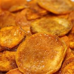 "Cinnamon Sweet Potato Chips | ""If you cut the potatoes thicker you'll ended up with ""cookies."" Moist and chewy!"""