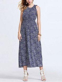 #NewChic - #NewChic Bohemian Pleated Floral Maxi Elastic Waist Women Sleeveless Dress - AdoreWe.com