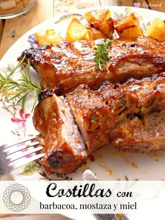 Costillas de cerdo al horno Más Pork Recipes, Mexican Food Recipes, Chicken Recipes, Cooking Recipes, Healthy Recipes, Guatemalan Recipes, Guatemalan Food, My Favorite Food, Favorite Recipes