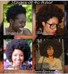natural hair stages of 4c hair