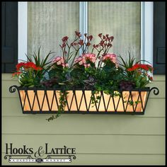 Copper window box in wrought iron frame