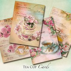 Tea Cups Cards  ATC Cards  Collage Sheet by arinaatelierDigital, $4.30