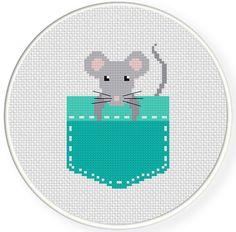 Pocket Mouse Cross Stitch Pattern | Daily Cross Stitch