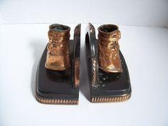Set Bronzed Baby Shoes Bookends Vintage Antique Copper Button Shoes