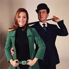 English actors Patrick Macnee and Diana Rigg during the filming of the telly show The Avengers. They played British Intelligence Officers John Steed and Emma Peel. The series, ran 1961-1969 and was revived as The New Avengers 1976-1977