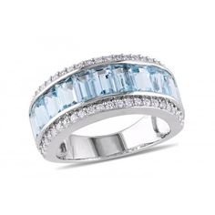 4 5/8 CT TGW Created White Sapphire Sky Blue Topaz Silver Fashion Ring