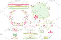 Princess Florals & Ribbons by Kelly Jane Creative on @creativemarket