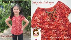Video tutorial paso a paso para tejer una hermosa blusa a crochet (ganchillo) para una niña de 8 años - Step by step video tutorial to crochet a beautiful blouse for an 8 year old girl Youtube Crochet, 8 Year Old Girl, Crochet Baby Clothes, Crochet Magazine, 8 Year Olds, Crochet Blouse, Girls Dresses, Lace, Collection