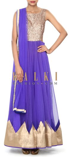 Buy Online from the link below. We ship worldwide (Free Shipping over US$100) Price- $489 Click Anywhere to Tag http://www.kalkifashion.com/royal-blue-anarkali-suit-enhanced-in-sequin-embroidery-only-on-kalki.html