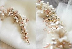 Blushing Bride | A gold and blush bridal headpiece for Ana