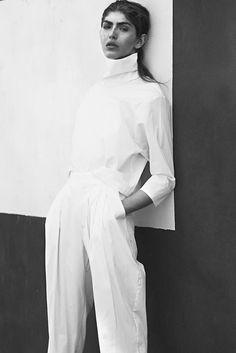 White Simplicity - chic white top & trousers; minimalist fashion // Ph. i-D…