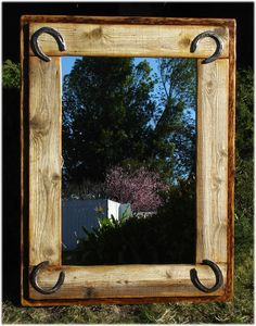 horse shoe mirror  Asking WAY to much for this.... Easily can be a fun DIY project!!! Love this!